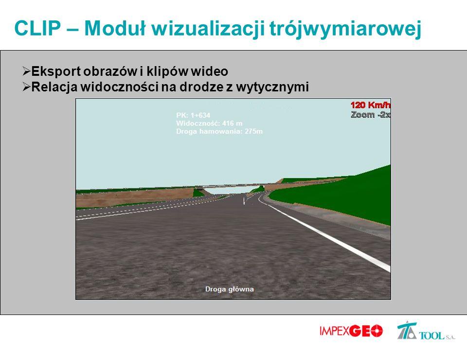 CLIP – Moduł wizualizacji trójwymiarowej Eksport obrazów i klipów wideo Relacja widoczności na drodze z wytycznymi