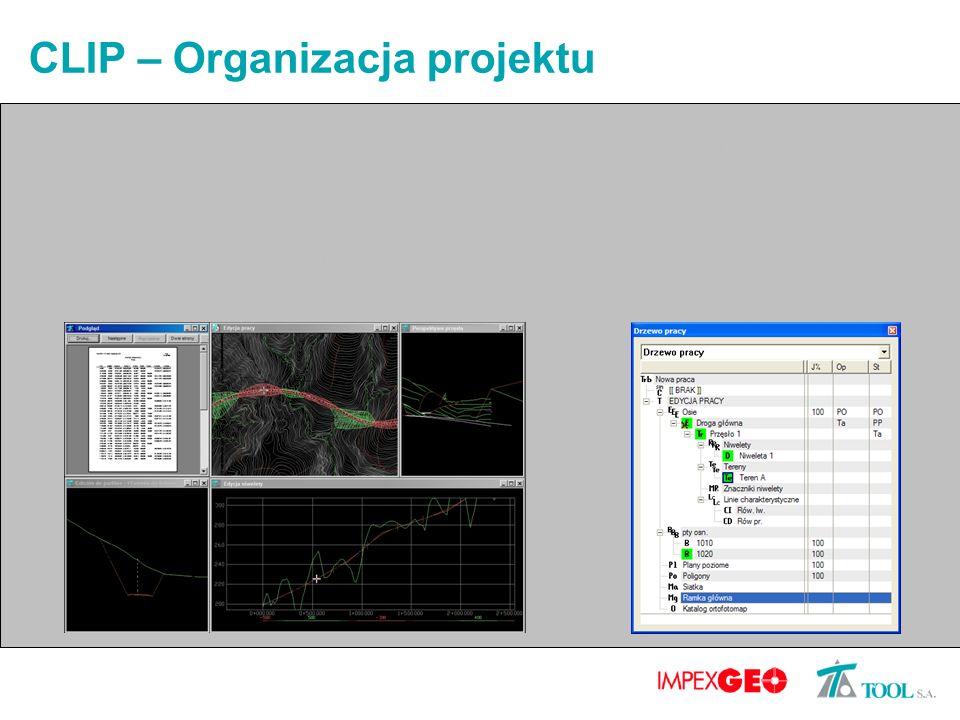 CLIP – Organizacja projektu Cała praca dotycząca jednego projektu przechowywana w jednym pliku Łatwe zarządzanie projektem dzięki zhierarchizowanej strukturze elementów Prosta wymiana projektów