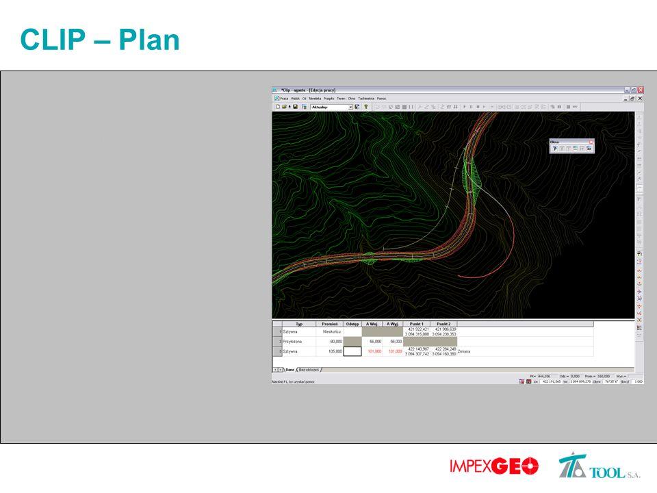 CLIP – Plan Całkowicie nowy sposób projektowania Edycja graficzna i analityczna Jednoczesne porównywanie kilku wariantów przebiegu trasy Integracja wszystkich elementów projektu Automatyczne generowanie pasów zmiany prędkości