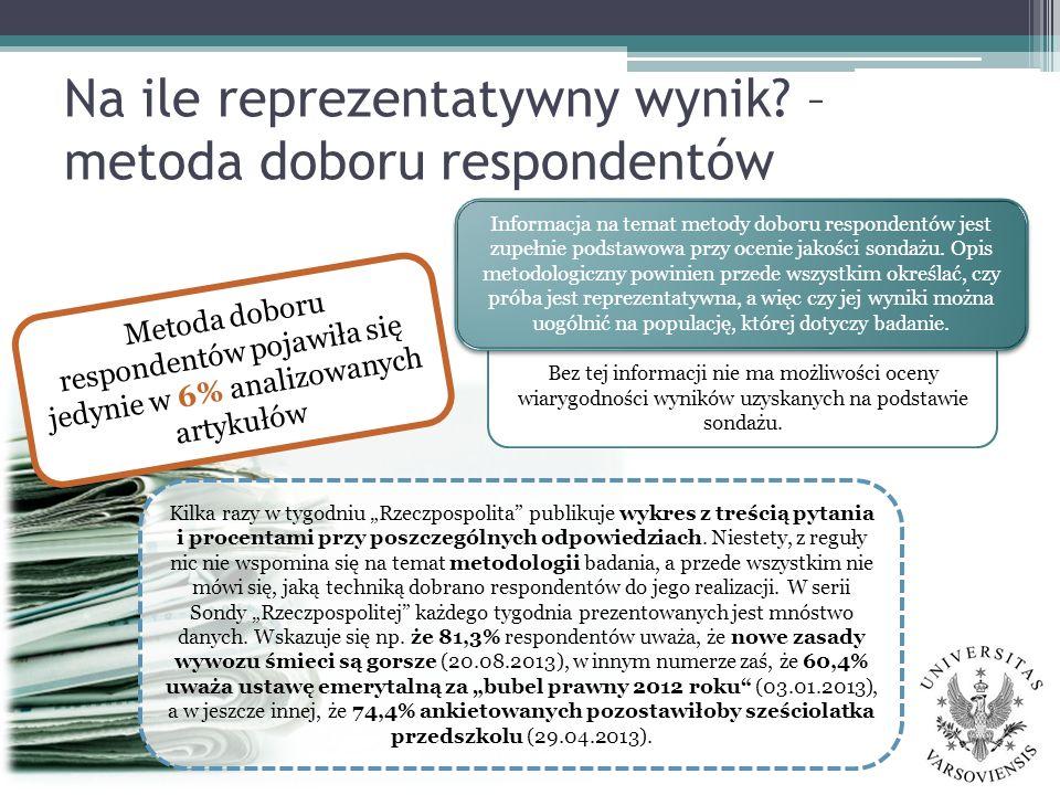 Na ile reprezentatywny wynik? – metoda doboru respondentów Kilka razy w tygodniu Rzeczpospolita publikuje wykres z treścią pytania i procentami przy p