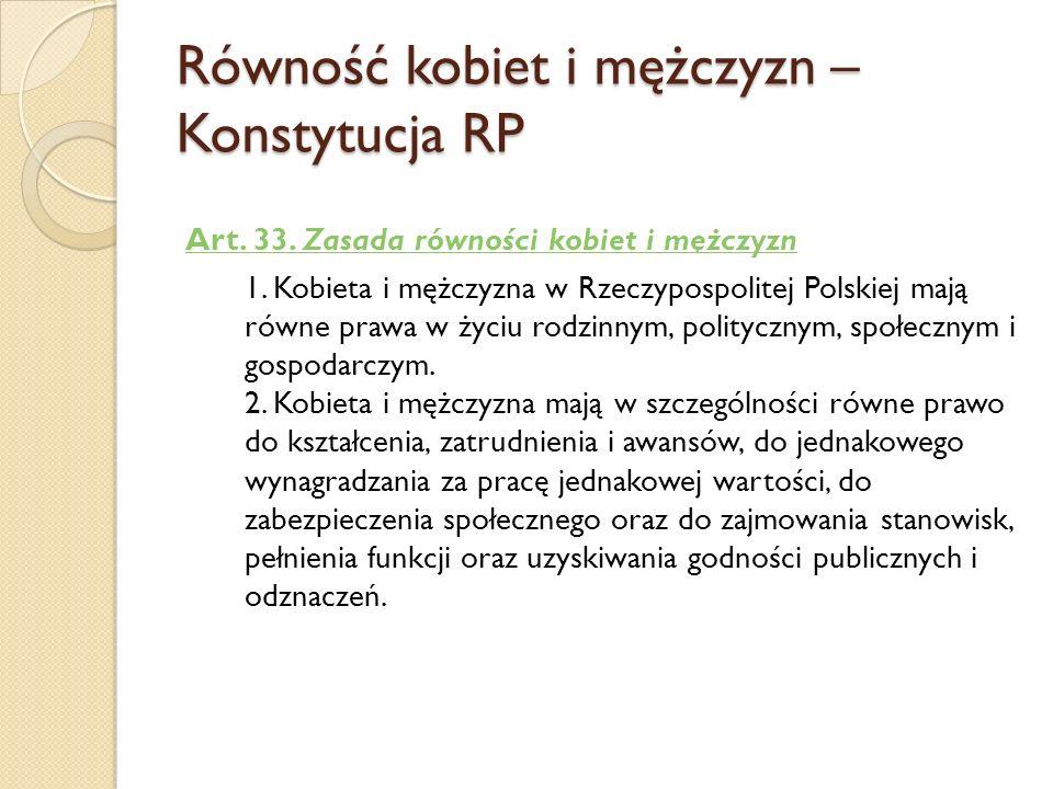 Równość kobiet i mężczyzn – Konstytucja RP Art. 33. Zasada równości kobiet i mężczyzn 1. 1. Kobieta i mężczyzna w Rzeczypospolitej Polskiej mają równe