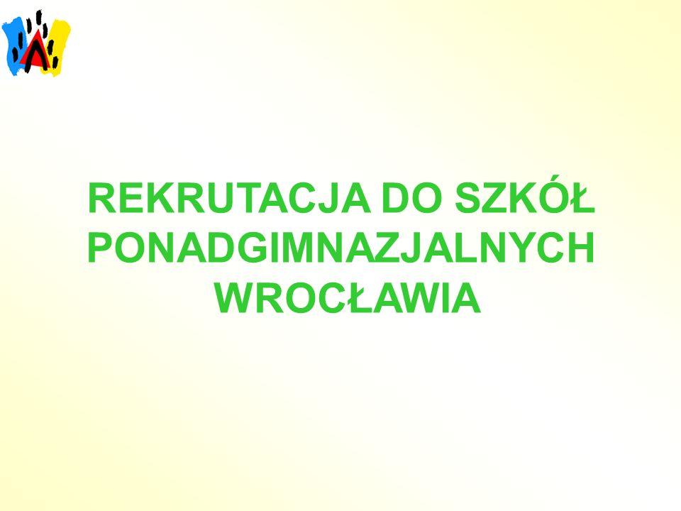 Przykład obliczania punktów rekrutacyjnych Egzamin gimnazjalny język polski 62% - 6,2 pkt historia i wos 63% - 6,3 pkt matematyka 70% - 7,0 pkt przedmioty przyrodnicze 66% - 6,6 pkt język obcy 64%- 6,4 pkt ----------------------- Razem 32,5 pkt Oceny język polski bardzo dobry - 8 pkt drugi przedmiot bardzo dobry - 8 pkt trzeci przedmiotdobry - 6 pkt czwarty przedmiot wskazany dobry - 6 pkt przez szkołę ponadgimnazjalną------------------------ Razem 28 pkt SUMA = 60,5 pkt
