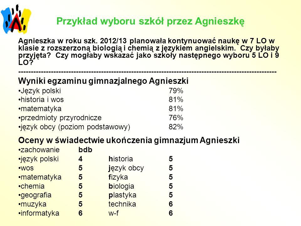 Przykład wyboru szkół przez Agnieszkę Agnieszka w roku szk. 2012/13 planowała kontynuować naukę w 7 LO w klasie z rozszerzoną biologią i chemią z języ