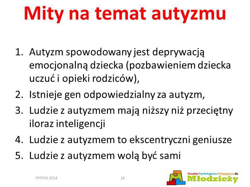 Mity na temat autyzmu 1.Autyzm spowodowany jest deprywacją emocjonalną dziecka (pozbawieniem dziecka uczuć i opieki rodziców), 2.Istnieje gen odpowied