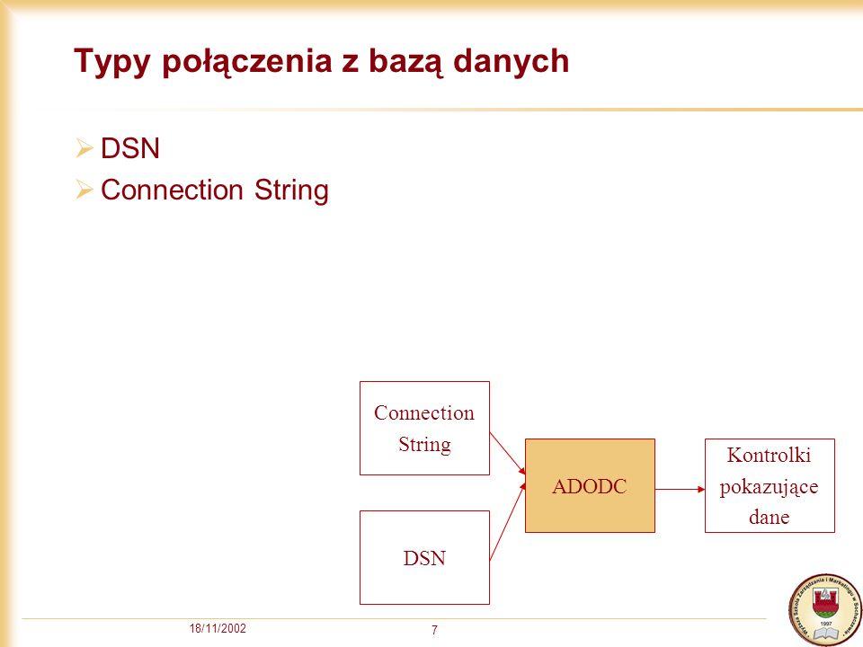 18/11/2002 7 Typy połączenia z bazą danych DSN Connection String ADODC Kontrolki pokazujące dane DSN Connection String