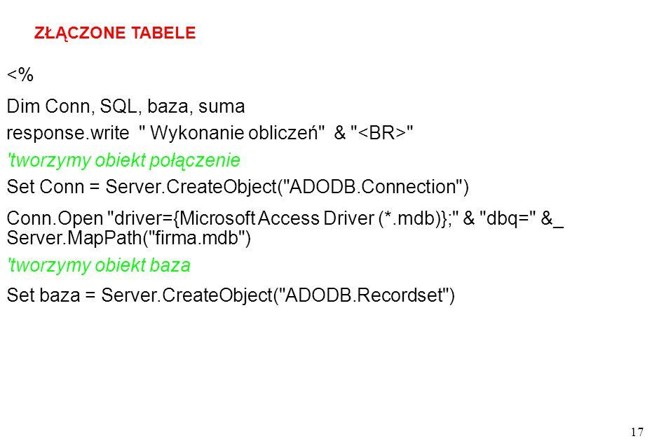 17 ZŁĄCZONE TABELE <% Dim Conn, SQL, baza, suma response.write