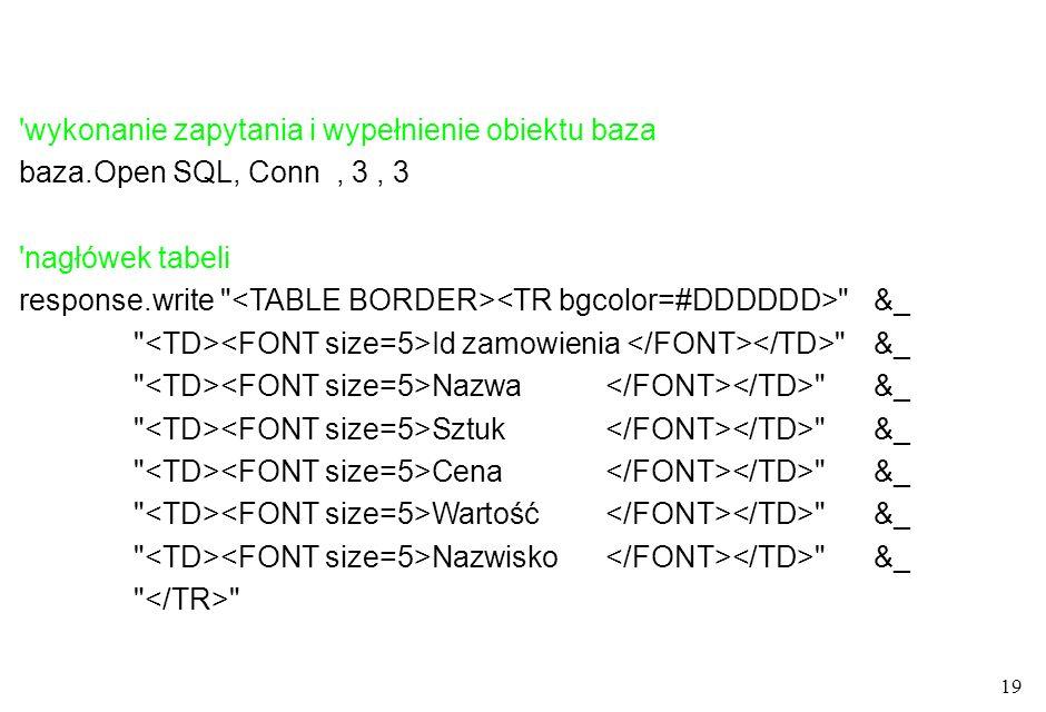 19 'wykonanie zapytania i wypełnienie obiektu baza baza.Open SQL, Conn, 3, 3 'nagłówek tabeli response.write