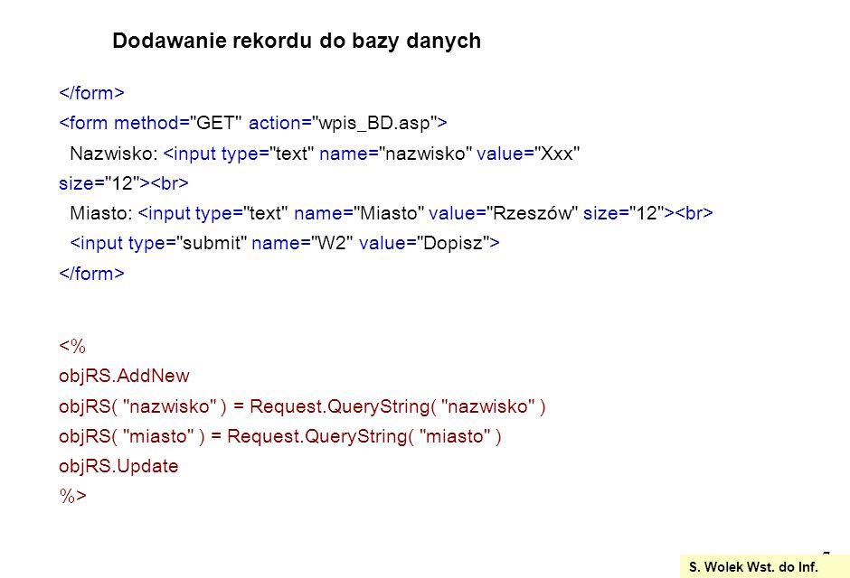 18 tworzymy zapytanie tworząc złączenia tabel SQL = SELECT Zamowienia.Id_zamowienia AS ID, &_ Towary.Nazwa as nazwa, &_ Zamowienia.Sztuk AS sztuk, &_ Towary.cena as cena, &_ Klienci.Nazwisko AS nazwisko &_ FROM Klienci, Towary, Zamowienia WHERE &_ Klienci.Identyfikator=Zamowienia.Id_klienta and &_ Towary.Id_towaru=Zamowienia.Id_towaru and &_ Zamowienia.Id_klienta=2 &_ ORDER BY Zamowienia.Id_zamowienia