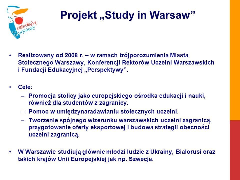 Projekt Study in Warsaw Realizowany od 2008 r.