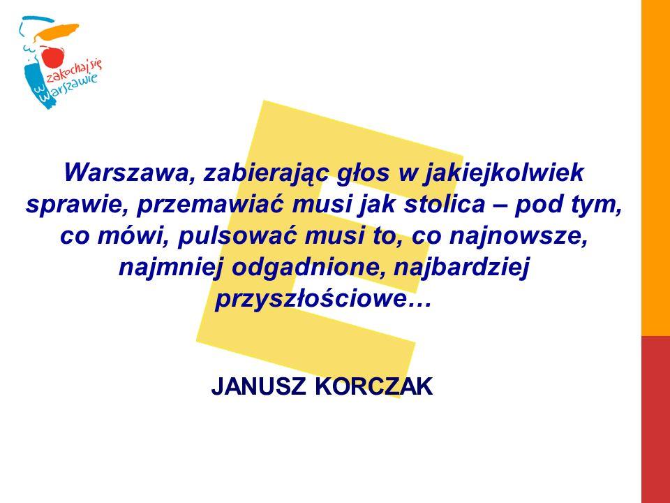 Warszawa, zabierając głos w jakiejkolwiek sprawie, przemawiać musi jak stolica – pod tym, co mówi, pulsować musi to, co najnowsze, najmniej odgadnione, najbardziej przyszłościowe… JANUSZ KORCZAK