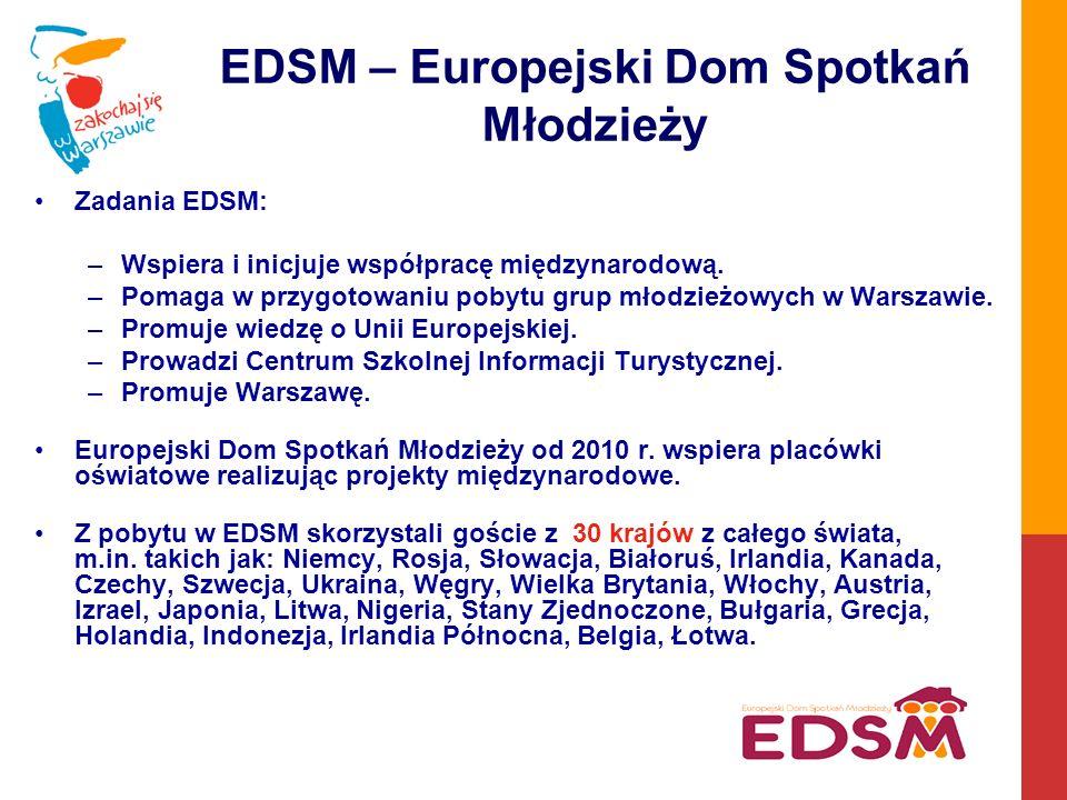 EDSM – Europejski Dom Spotkań Młodzieży Zadania EDSM: –Wspiera i inicjuje współpracę międzynarodową.