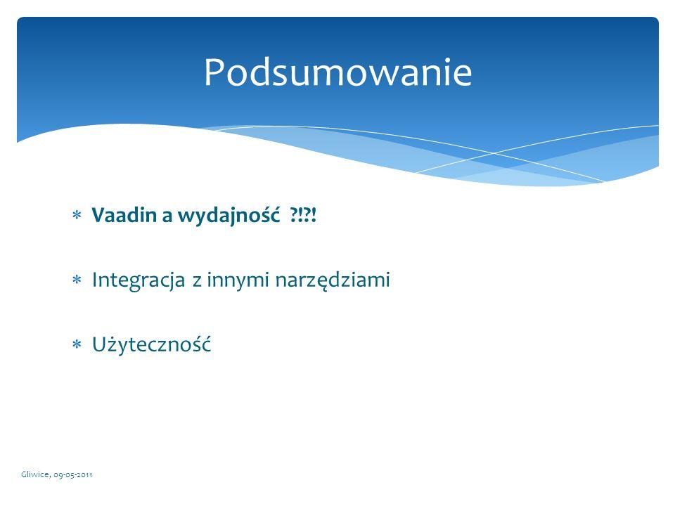 Vaadin a wydajność ?!?! Integracja z innymi narzędziami Użyteczność Gliwice, 09-05-2011 Podsumowanie