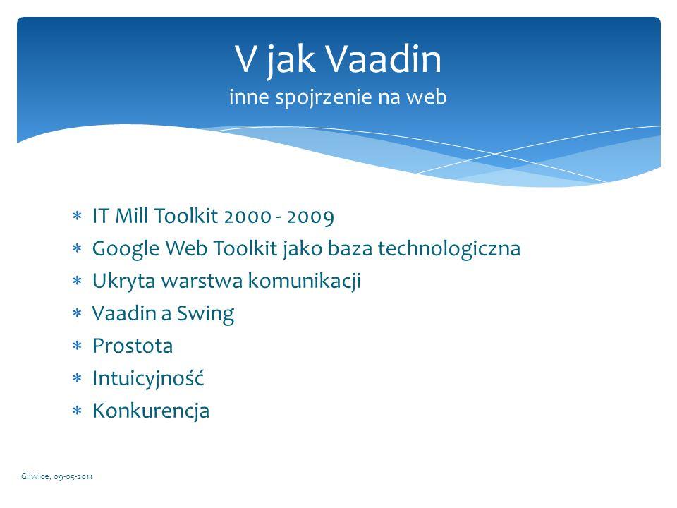 IT Mill Toolkit 2000 - 2009 Google Web Toolkit jako baza technologiczna Ukryta warstwa komunikacji Vaadin a Swing Prostota Intuicyjność Konkurencja Gl