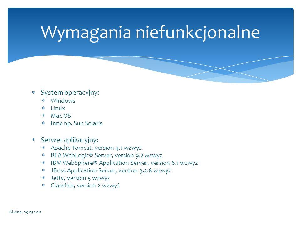 System operacyjny: Windows Linux Mac OS Inne np. Sun Solaris Serwer aplikacyjny: Apache Tomcat, version 4.1 wzwyż BEA WebLogic® Server, version 9.2 wz