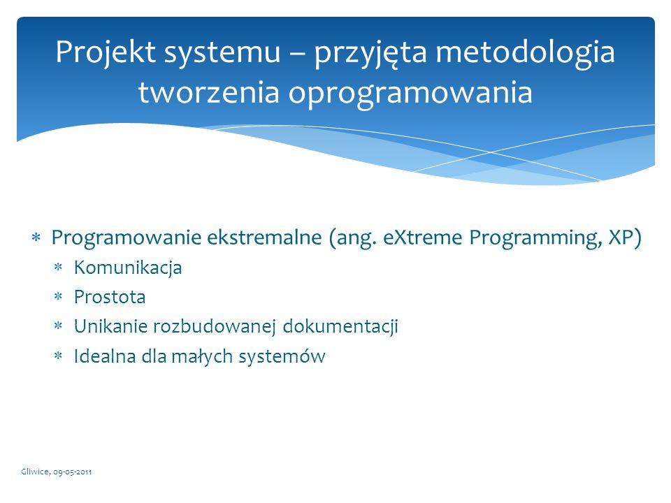 Programowanie ekstremalne (ang. eXtreme Programming, XP) Komunikacja Prostota Unikanie rozbudowanej dokumentacji Idealna dla małych systemów Gliwice,