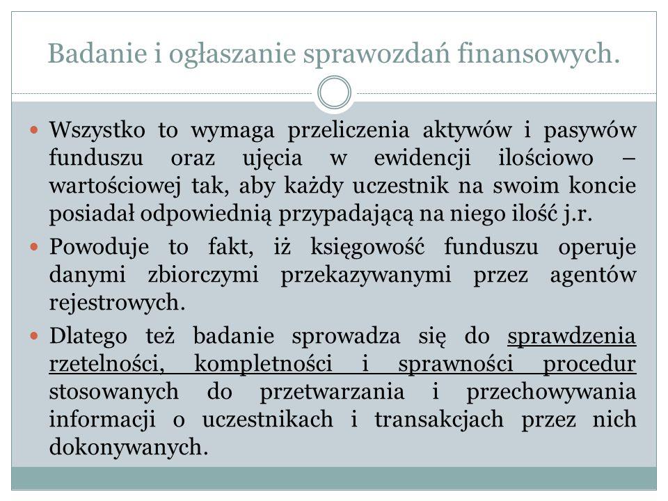 Badanie i ogłaszanie sprawozdań finansowych. Wszystko to wymaga przeliczenia aktywów i pasywów funduszu oraz ujęcia w ewidencji ilościowo – wartościow