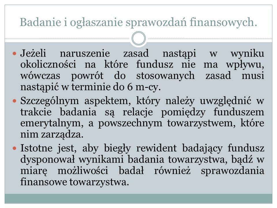 Badanie i ogłaszanie sprawozdań finansowych. Jeżeli naruszenie zasad nastąpi w wyniku okoliczności na które fundusz nie ma wpływu, wówczas powrót do s