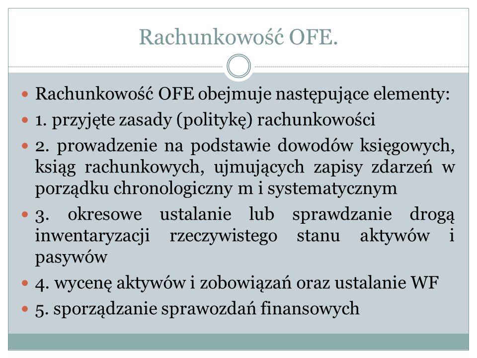 Rachunkowość OFE. Rachunkowość OFE obejmuje następujące elementy: 1. przyjęte zasady (politykę) rachunkowości 2. prowadzenie na podstawie dowodów księ