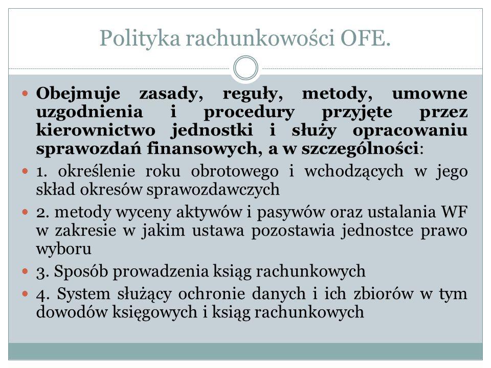 Polityka rachunkowości OFE. Obejmuje zasady, reguły, metody, umowne uzgodnienia i procedury przyjęte przez kierownictwo jednostki i służy opracowaniu