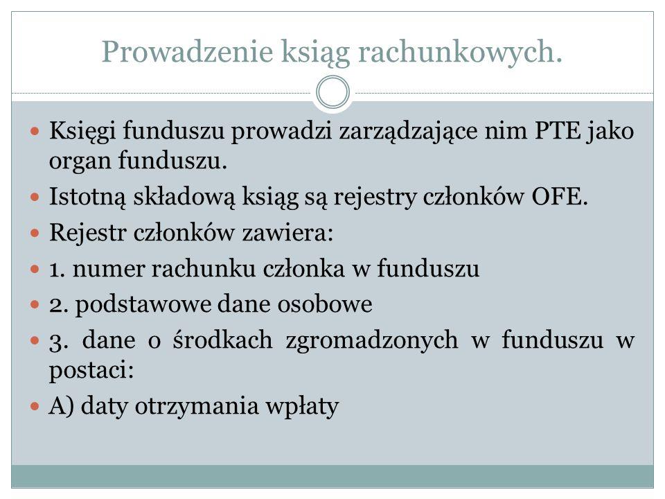 Prowadzenie ksiąg rachunkowych. Księgi funduszu prowadzi zarządzające nim PTE jako organ funduszu. Istotną składową ksiąg są rejestry członków OFE. Re