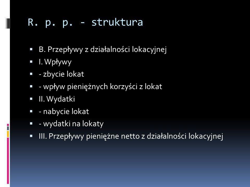 R. p. p. - struktura B. Przepływy z działalności lokacyjnej I. Wpływy - zbycie lokat - wpływ pieniężnych korzyści z lokat II. Wydatki - nabycie lokat