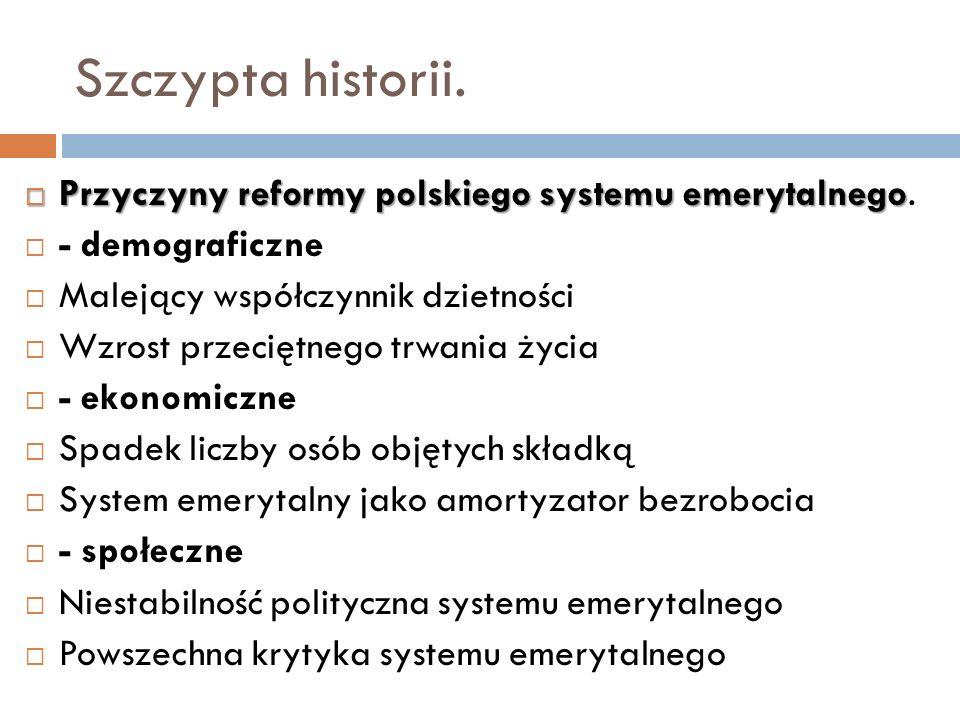 Szczypta historii. Przyczyny reformy polskiego systemu emerytalnego Przyczyny reformy polskiego systemu emerytalnego. - demograficzne Malejący współcz