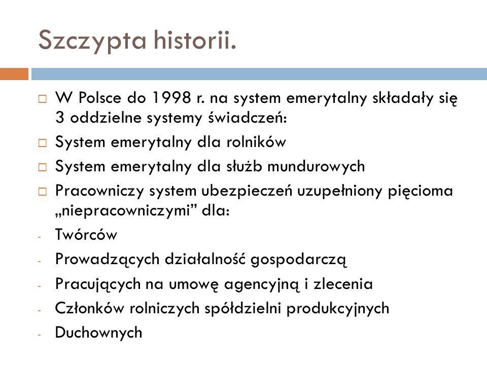 Szczypta historii. W Polsce do 1998 r. na system emerytalny składały się 3 oddzielne systemy świadczeń: System emerytalny dla rolników System emerytal