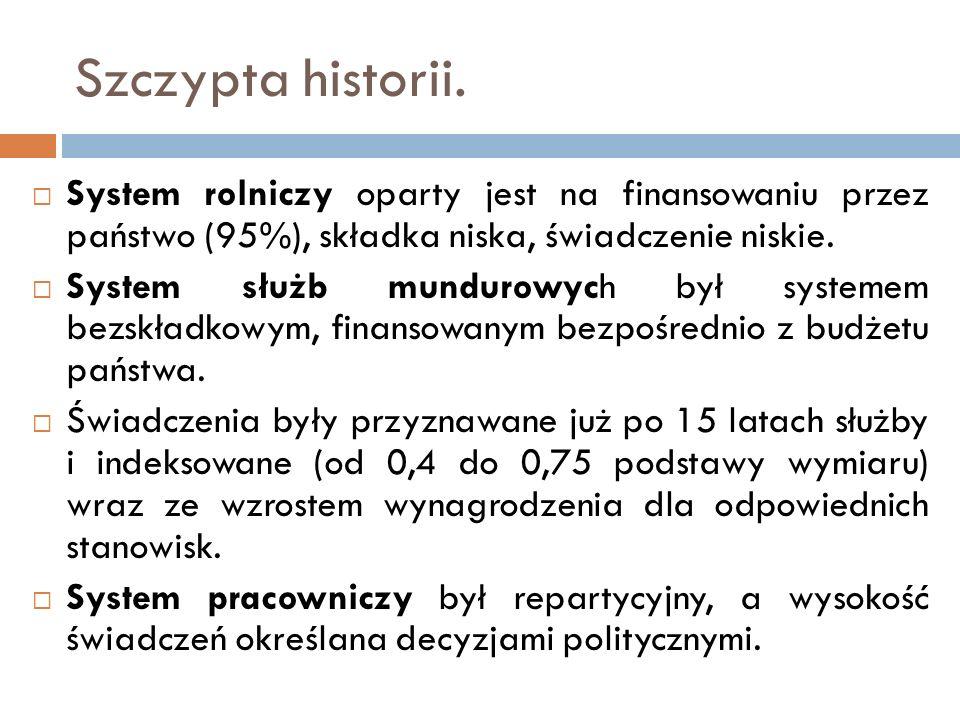 Szczypta historii. System rolniczy oparty jest na finansowaniu przez państwo (95%), składka niska, świadczenie niskie. System służb mundurowych był sy