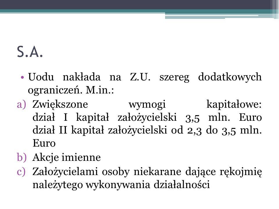 S.A. Uodu nakłada na Z.U. szereg dodatkowych ograniczeń. M.in.: a)Zwiększone wymogi kapitałowe: dział I kapitał założycielski 3,5 mln. Euro dział II k