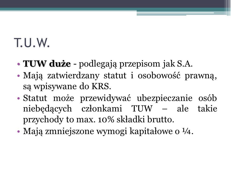 T.U.W. TUW dużeTUW duże - podlegają przepisom jak S.A. Mają zatwierdzany statut i osobowość prawną, są wpisywane do KRS. Statut może przewidywać ubezp