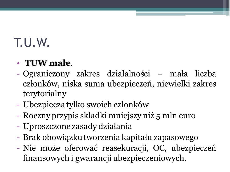 T.U.W. TUW małe TUW małe. -Ograniczony zakres działalności – mała liczba członków, niska suma ubezpieczeń, niewielki zakres terytorialny -Ubezpiecza t