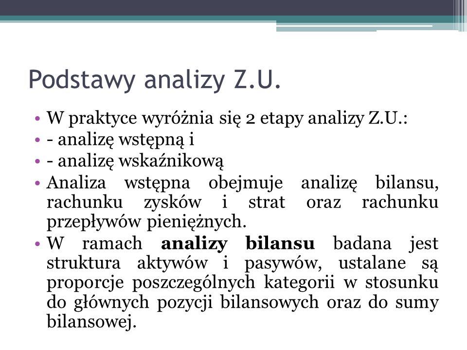 Podstawy analizy Z.U. W praktyce wyróżnia się 2 etapy analizy Z.U.: - analizę wstępną i - analizę wskaźnikową Analiza wstępna obejmuje analizę bilansu