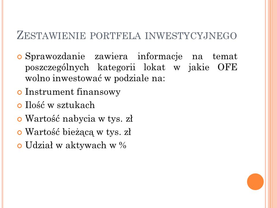 Z ESTAWIENIE PORTFELA INWESTYCYJNEGO Sprawozdanie zawiera informacje na temat poszczególnych kategorii lokat w jakie OFE wolno inwestować w podziale n