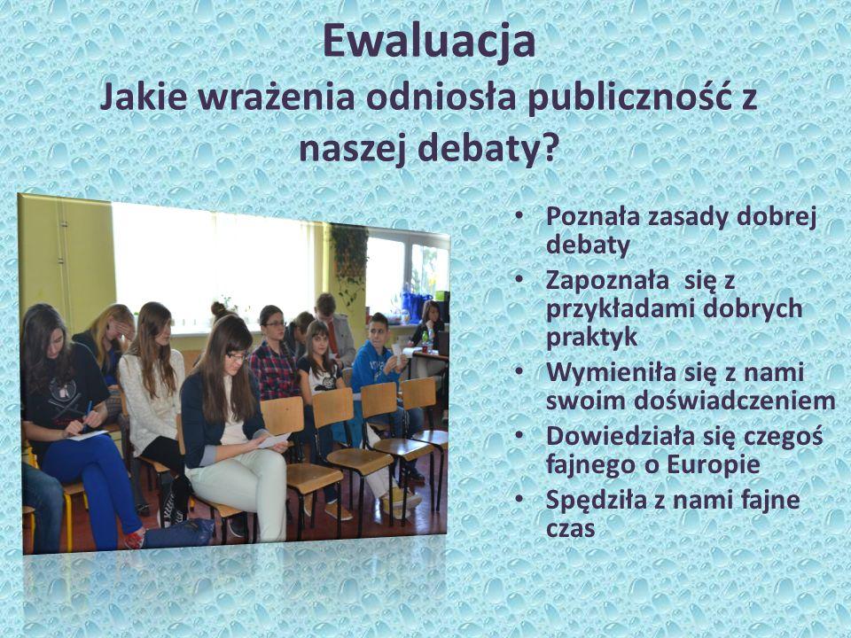 Ewaluacja Jakie wrażenia odniosła publiczność z naszej debaty.