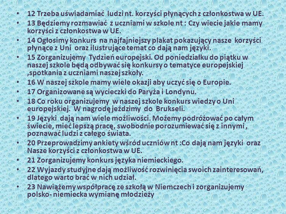 12 Trzeba uświadamiać ludzi nt. korzyści płynących z członkostwa w UE. 13 Będziemy rozmawiać z uczniami w szkole nt : Czy wiecie jakie mamy korzyści z