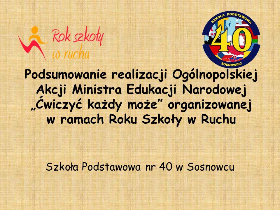 Podsumowanie realizacji Ogólnopolskiej Akcji Ministra Edukacji Narodowej Ćwiczyć każdy może organizowanej w ramach Roku Szkoły w Ruchu Szkoła Podstawowa nr 40 w Sosnowcu