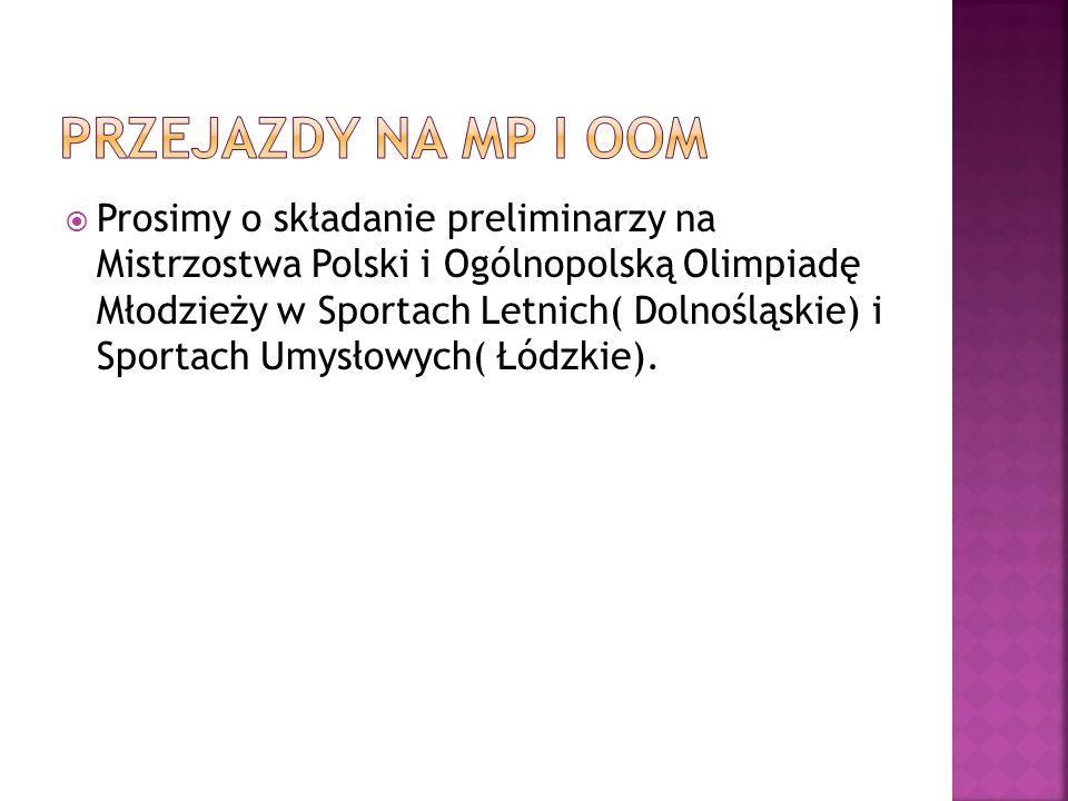 Prosimy o składanie preliminarzy na Mistrzostwa Polski i Ogólnopolską Olimpiadę Młodzieży w Sportach Letnich( Dolnośląskie) i Sportach Umysłowych( Łód
