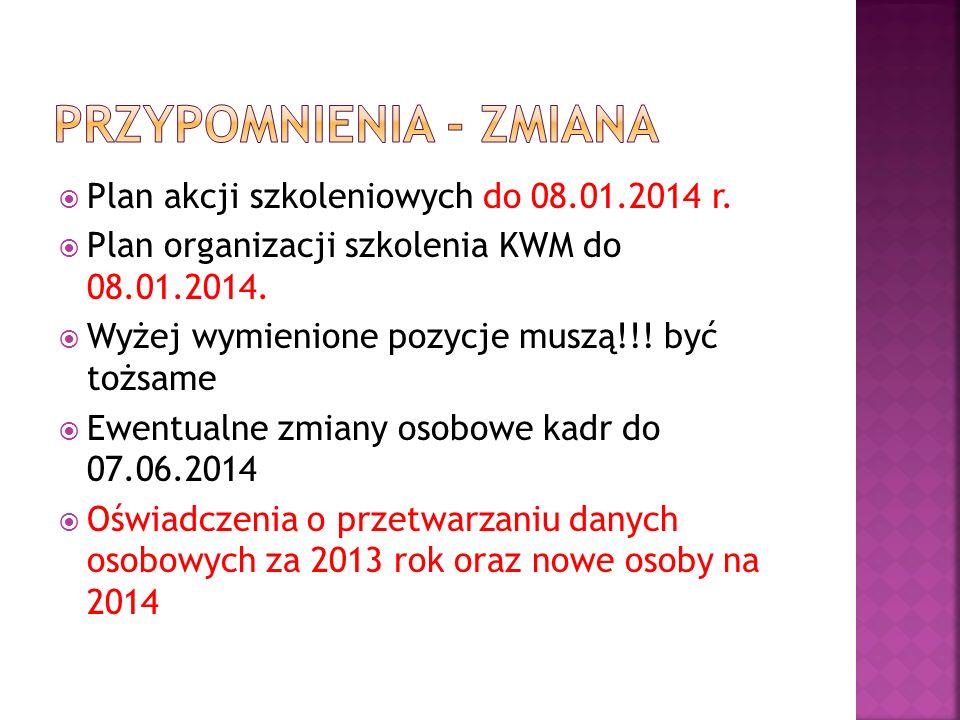 Plan akcji szkoleniowych do 08.01.2014 r. Plan organizacji szkolenia KWM do 08.01.2014. Wyżej wymienione pozycje muszą!!! być tożsame Ewentualne zmian