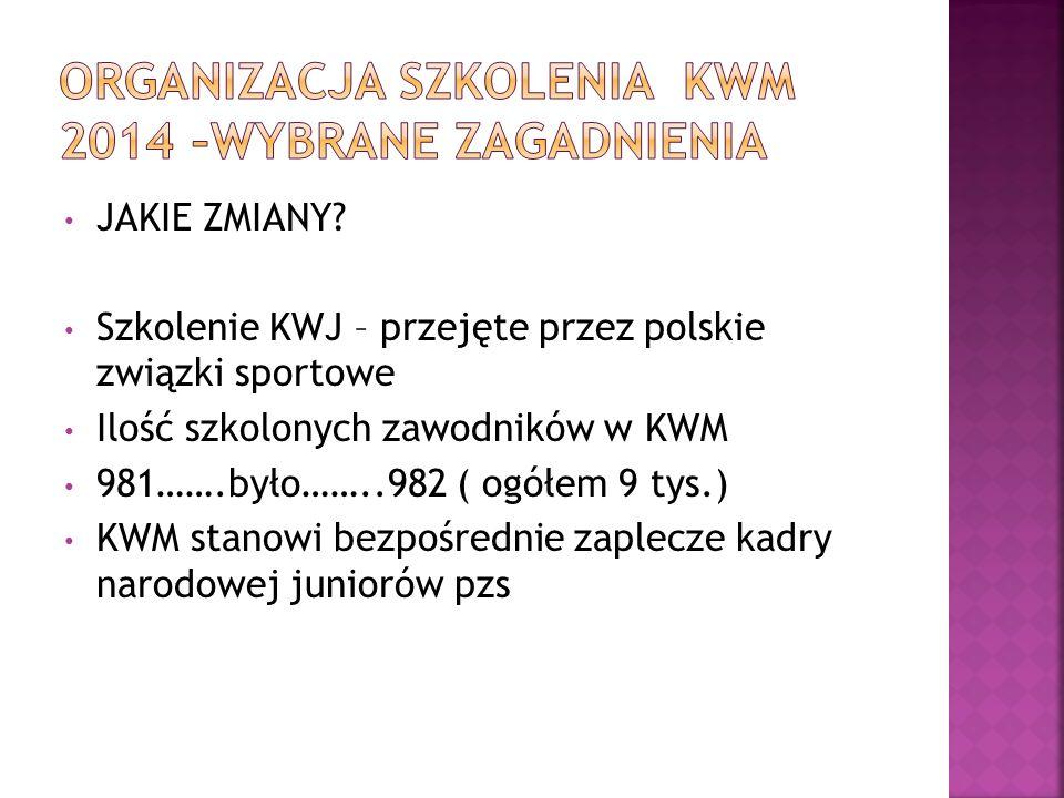 JAKIE ZMIANY? Szkolenie KWJ – przejęte przez polskie związki sportowe Ilość szkolonych zawodników w KWM 981…….było……..982 ( ogółem 9 tys.) KWM stanowi