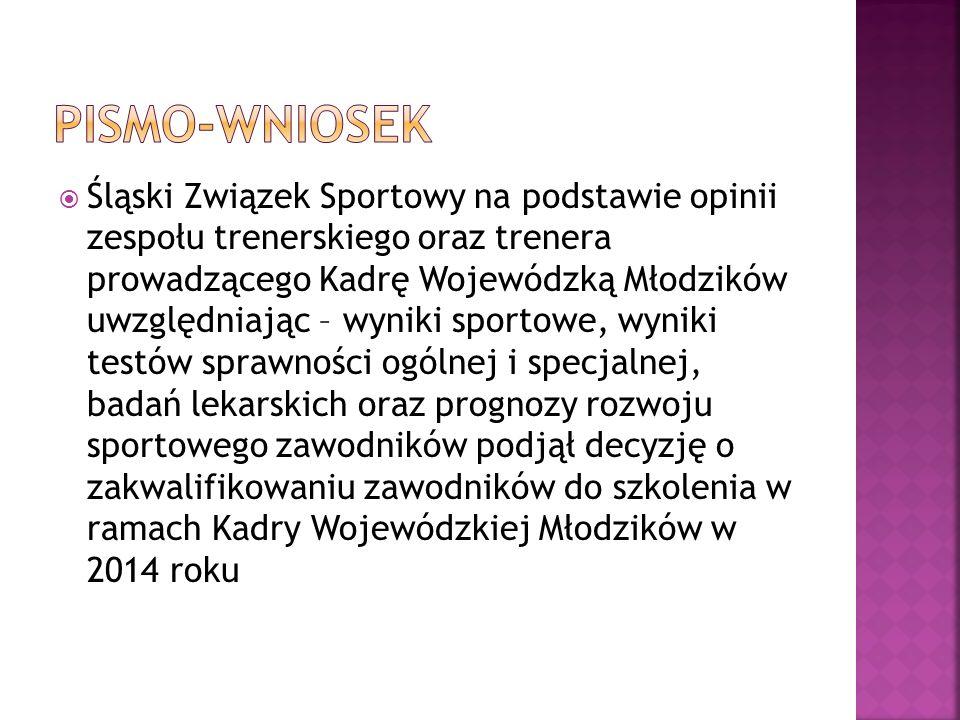 Śląski Związek Sportowy na podstawie opinii zespołu trenerskiego oraz trenera prowadzącego Kadrę Wojewódzką Młodzików uwzględniając – wyniki sportowe,