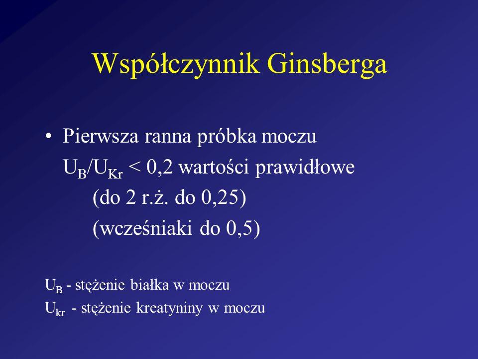 Współczynnik Ginsberga Pierwsza ranna próbka moczu U B /U Kr < 0,2 wartości prawidłowe (do 2 r.ż. do 0,25) (wcześniaki do 0,5) U B - stężenie białka w