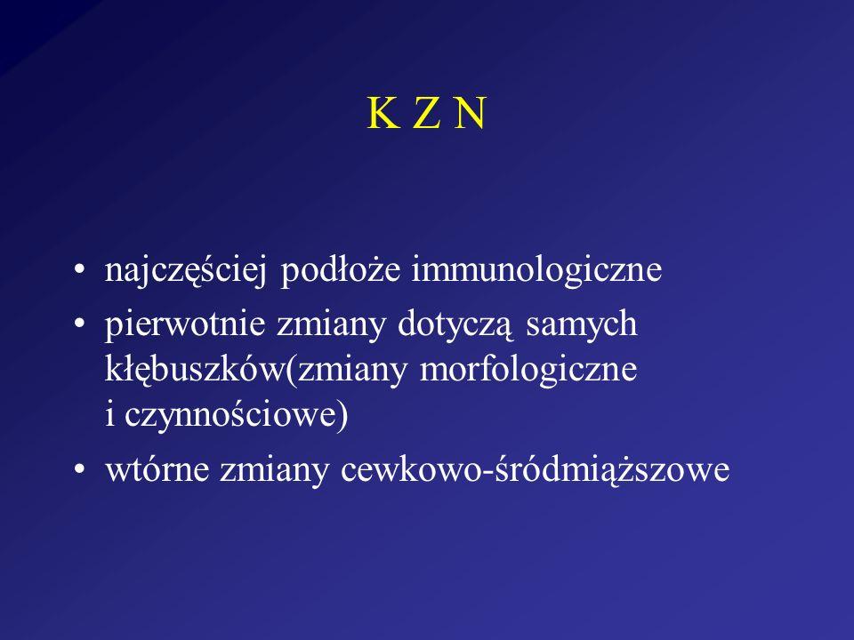 K Z N najczęściej podłoże immunologiczne pierwotnie zmiany dotyczą samych kłębuszków(zmiany morfologiczne i czynnościowe) wtórne zmiany cewkowo-śródmi