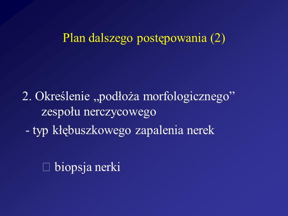 Plan dalszego postępowania (2) 2. Określenie podłoża morfologicznego zespołu nerczycowego - typ kłębuszkowego zapalenia nerek biopsja nerki