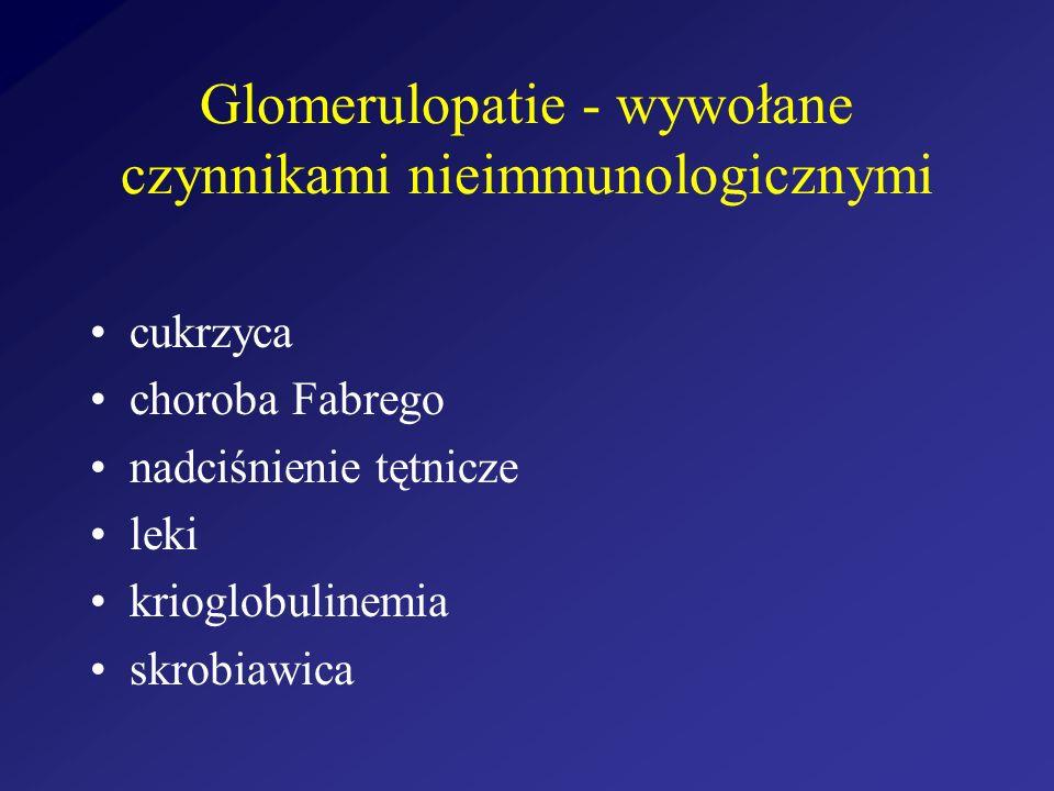 Glomerulopatie - wywołane czynnikami nieimmunologicznymi cukrzyca choroba Fabrego nadciśnienie tętnicze leki krioglobulinemia skrobiawica