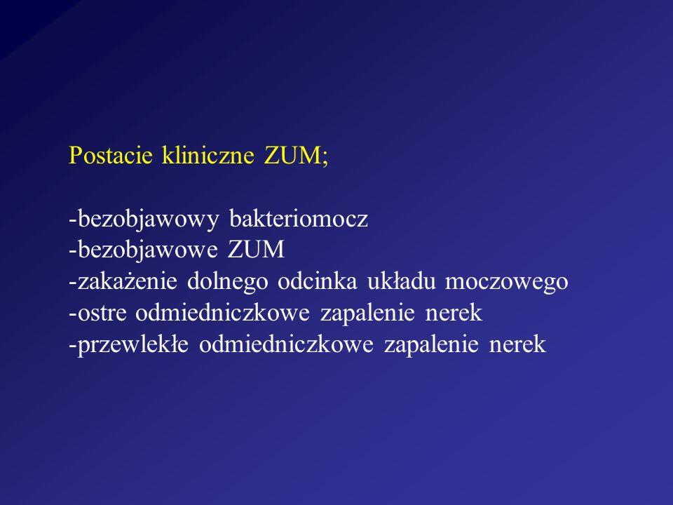 Postacie kliniczne ZUM; -bezobjawowy bakteriomocz -bezobjawowe ZUM -zakażenie dolnego odcinka układu moczowego -ostre odmiedniczkowe zapalenie nerek -