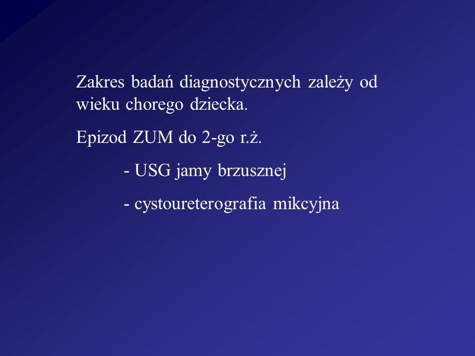 Zakres badań diagnostycznych zależy od wieku chorego dziecka. Epizod ZUM do 2-go r.ż. - USG jamy brzusznej - cystoureterografia mikcyjna