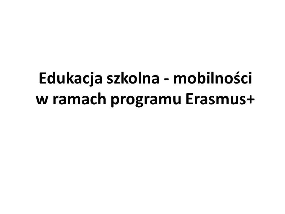 \ 2014–2020 ERASMUS+ Edukacja szkolna, szkolnictwo i kształcenie zawodowe, szkolnictwo wyższe, edukacja dorosłych, młodzież AKCJA 1 Wyjazdy w celach edukacyjnych AKCJA 2 Współpraca na rzecz innowacji i dobrych praktyk AKCJA 3 Wsparcie dla reform w obszarze edukacji oraz 2 rodzaje działań specjalnych zarządzanych centralnie: Jean Monnet Sport