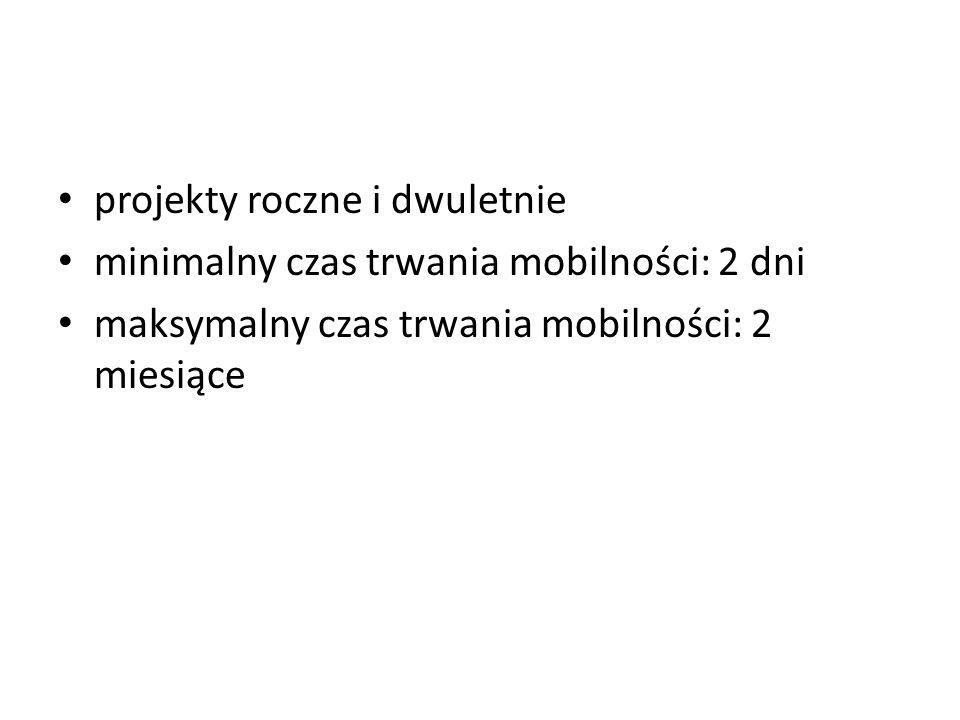 projekty roczne i dwuletnie minimalny czas trwania mobilności: 2 dni maksymalny czas trwania mobilności: 2 miesiące