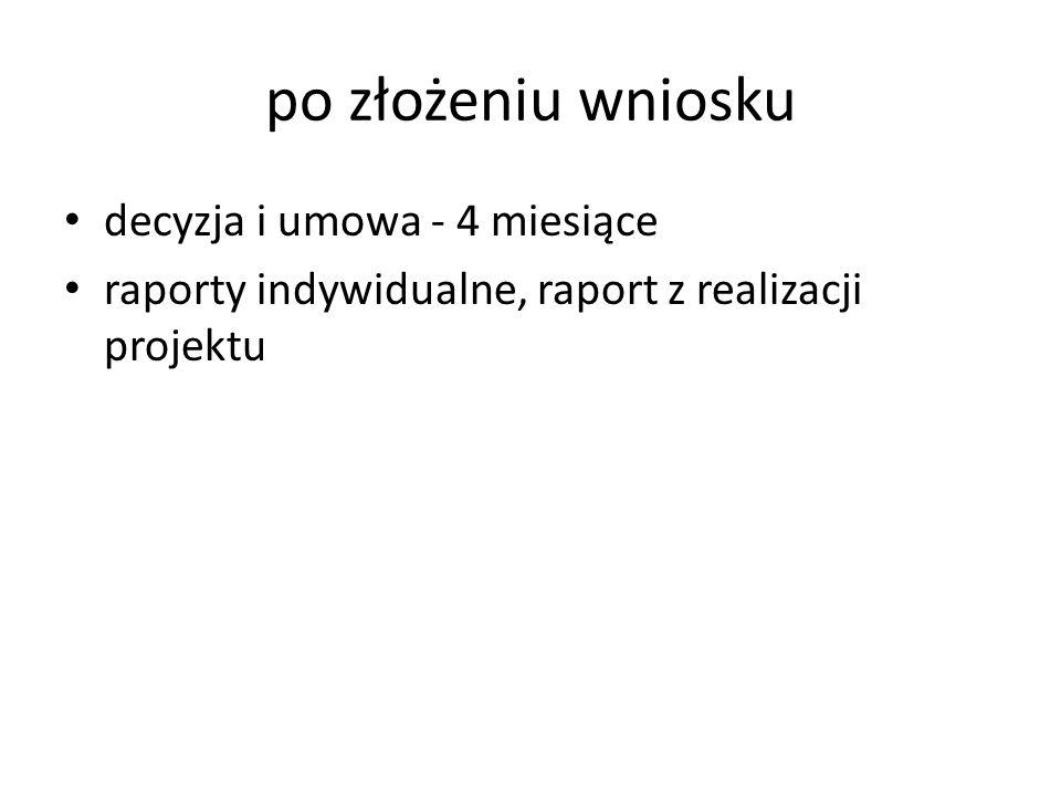 po złożeniu wniosku decyzja i umowa - 4 miesiące raporty indywidualne, raport z realizacji projektu