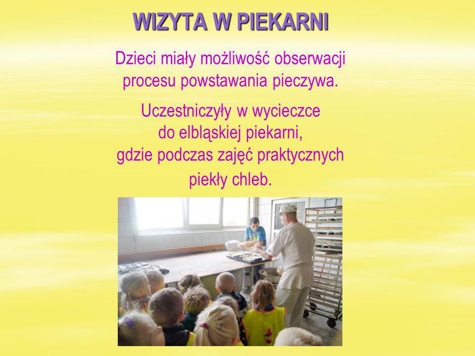 WIZYTA W PIEKARNI Dzieci miały możliwość obserwacji procesu powstawania pieczywa.